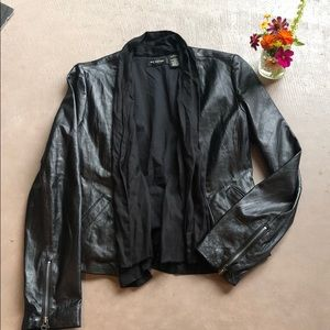 MM Couture Miss Me Black Leather Draped Jacket L